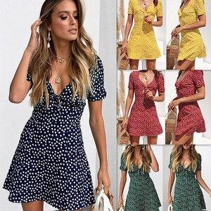 Beach Dress Women Fashion Casual Print Polka Dot Dress Ladies Short Sleeve V-Neck Bow Summer Dress roupas femininas femme robe
