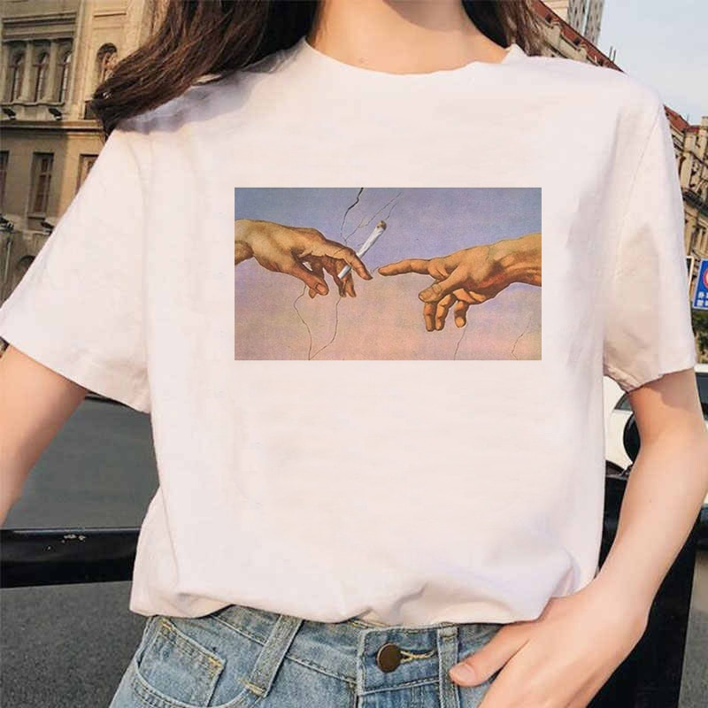 Nueva camiseta Michelangelo Ulzzang Hands Femme Vintage Harajuku para mujer, camiseta estética gráfica Grunge 90s para mujer