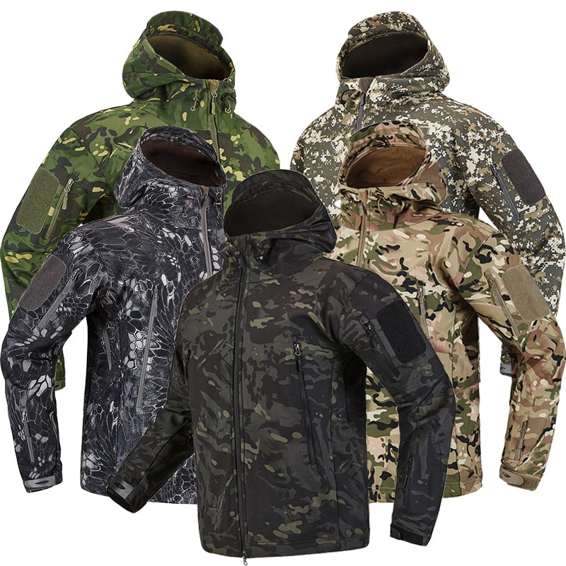 Army Camouflage Airsoft Jacket Men Military Tactical Jacket Winter Waterproof Softshell Jacket Windbreaker Hunt Clothes outdoor m65 tactical airsoft jacket suits camouflage jacket set men army hunting jackets military waterproof jacket windbreaker