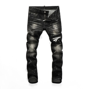 2021Hot Men's pants Dsq ripped patch painted varnished men's   jeans