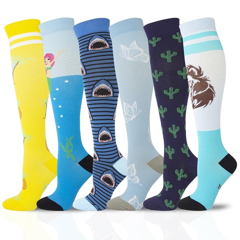 2020 Compression Stockings Men Women Pineapple Butterfly Mermaid Lion Cactus Shark Cartoon Funny Socks Varicose Veins Relieve