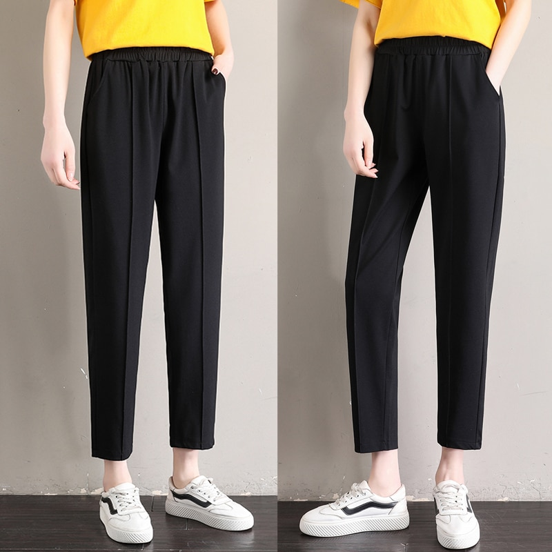 Новинка, осенние женские узкие брюки-скинни, узкие прямые свободные рабочие брюки в полоску с высокой талией для полных женщин
