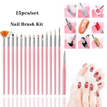 Lghzlink 15PCS Manicure Brushes Set For Nail Art Painting Brushes Dotting Design Manicure Nail Brush Kit Gel Varnishes Tools