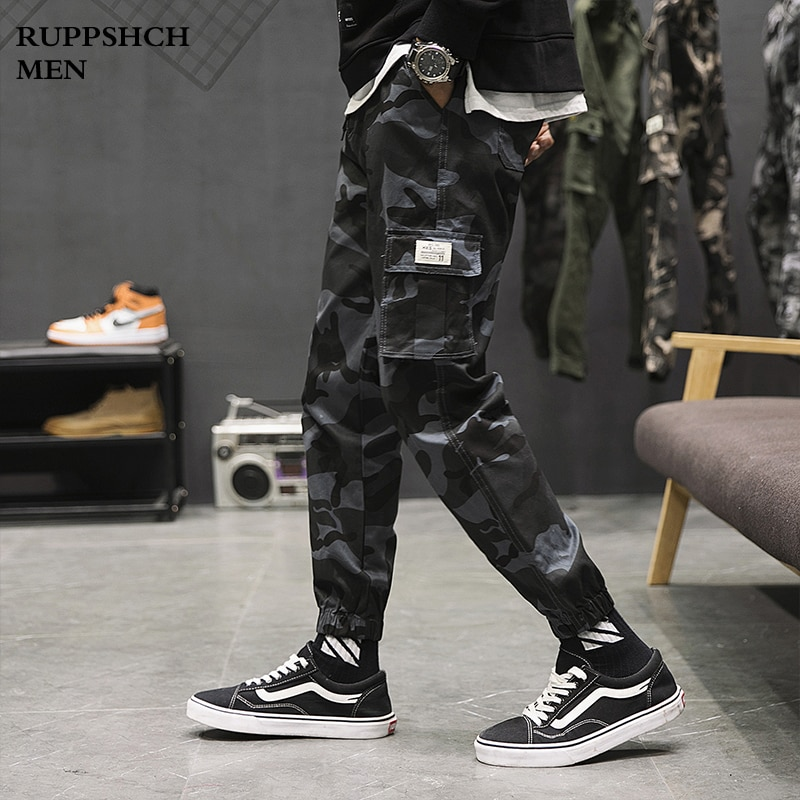 Men 2021 New Jogging Multi-pocket Overalls Camouflage Pants Men Fleece Painted Military Style Lace-up Cargo Pants men s camouflage style lace up slimming elastic shorts