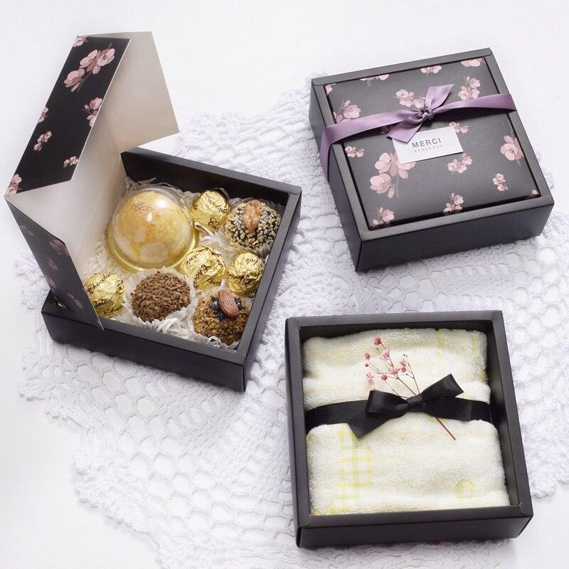 Boîtes imprimées noires et roses en papier   Boîtes demballage en Carton, boîte à faveur de mariage pour invités, boîtes demballage de thé et de savon, 10 pièces/lot