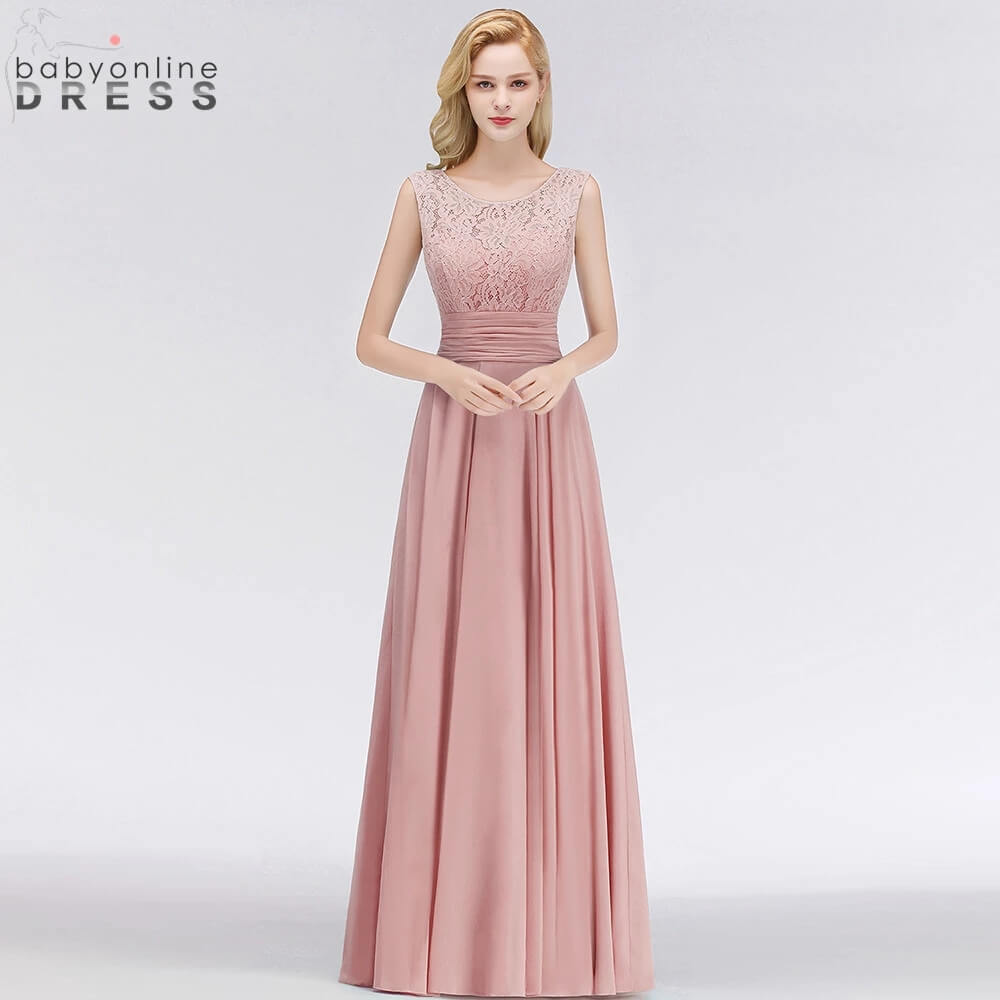 Babyonlinedress 50 Colors Lace Chiffon Bridesmaid Dresses A Line Tank Sleeves robe de soirée de mariage Wedding Party Dress недорого