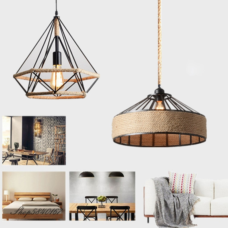 north american country pendant lights loft retro dining room bedroom ceiling lamp simple creative iron 3 6 heads pendant lamps Loft Industrial Hemp Rope Pendant Lamp Retro Living Room Dining Room Lamps Decoration Kitchen Hanging Lights E27 Pendant Light