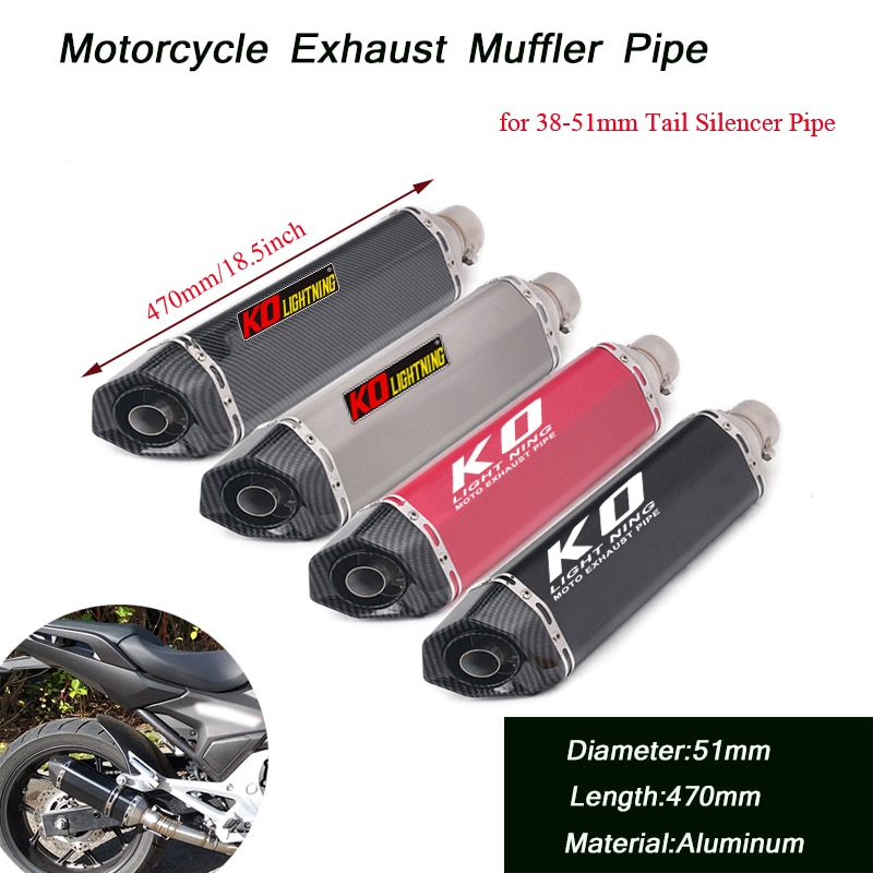Motorcycle Vent Tip Tubes Removable DB Killer Escape 51mm Tail Exhaust Muffler Pipe Stainless Steel Silencer System 18.5inch