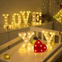 Светодиодный светящийся светильник с буквами 26 дюймов, Английский алфавит, Креативный светодиодный ночник с батареей, романтический Декор ...