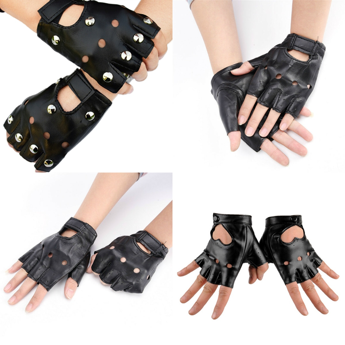 1pair Women Fashion PU Leather Black Half Finger Gloves Cool Heart Hollow Fingerless Gloves Boy Gloves For Fitness