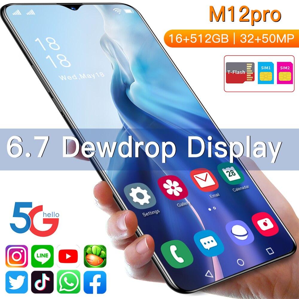 حار M12 برو 6.7 بوصة الهاتف المحمول Android11 العالمي 5G LET 32MP + 50MP 16GB + 512GB MTK-6889 الهواتف الذكية 10-Core المزدوج سيم الهواتف المحمولة