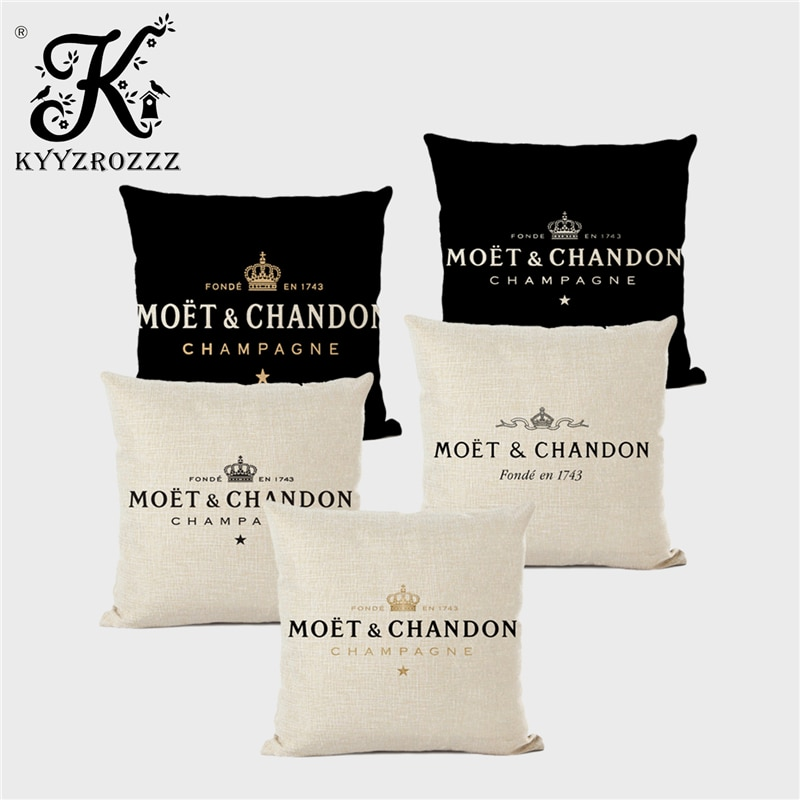 Black Linen Luxury Decorative Pillow Case High Quality Printing Text Luxury White Hotel Home Sofa Cu