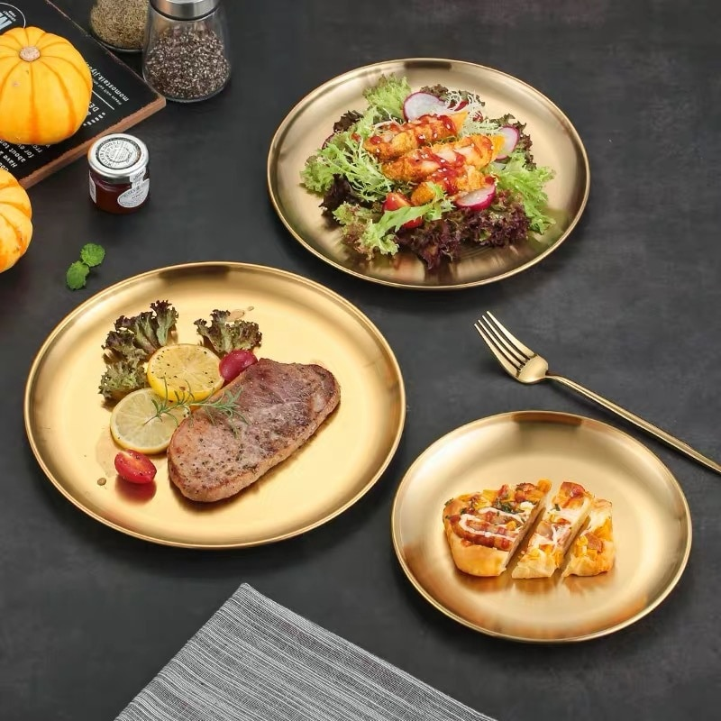Stainless Steel Matte Plates Dishes for Barbecue BBQ Roast Plate Golden Fruits Dessert Dinner Dishes for Toddlers Children