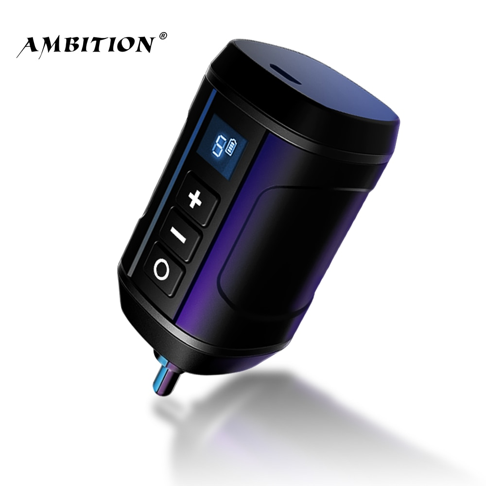Ambition Wireless Tattoo Battery Power Supply RCA Audio DC Interface For Rotary Machine Fount Adapte