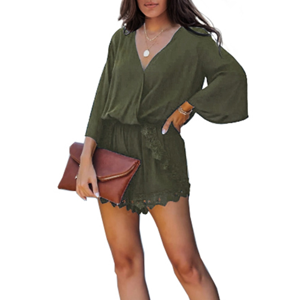 Short Jumpsuit Summer Sexy Women Romper Jumpsuit V Neck Overall Casual Drawstring Playsuit Beach Holiday Female Playsuit D30