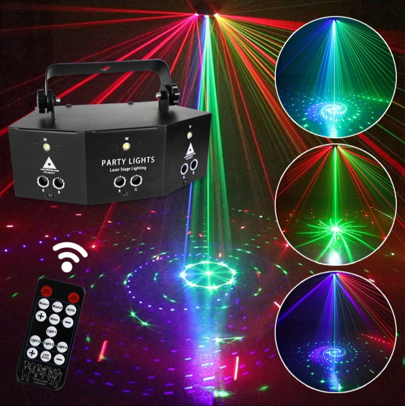 9 Eyes Laser Strobe Lamp Red Green Blue Fan Stage Lights RGB Beam Lamp Disco Lights Party DMX512 Scanning Lamps Party Lights