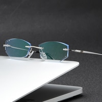 ZIROSAT 9119 Pure Titanium Rimless Men Eyeglasses Frame Fashion Brand Designer Myopia Clear Optical Prescription Eyewear Frame