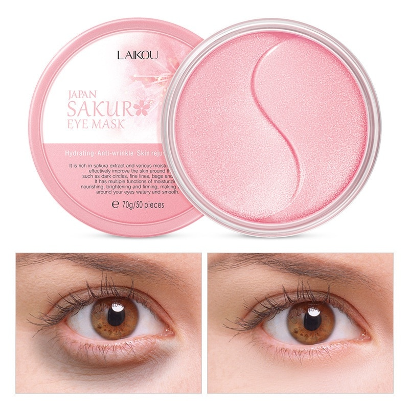Laikou 50 pçs sakura essência colágeno máscara de olho máscara facial gel olho remendos remover sacos de olho rugas círculos escuros almofadas de olho cuidados com a pele