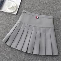 girls blue pleated skirt female spring autumn high waist a word slim student skirt new fashion breathable short skirts