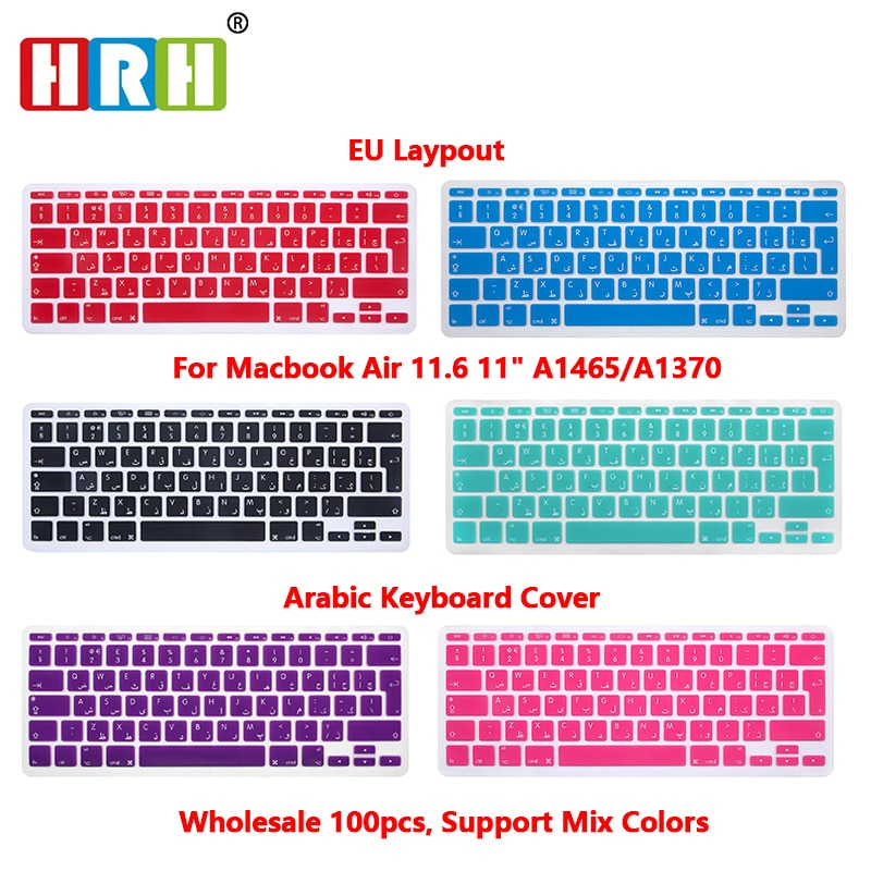 HRH 100pcs EU UK Arabic Alphabet Soft Silicone Keyboard Protector Covers Skins Protector For Macbook Air 11.6 11