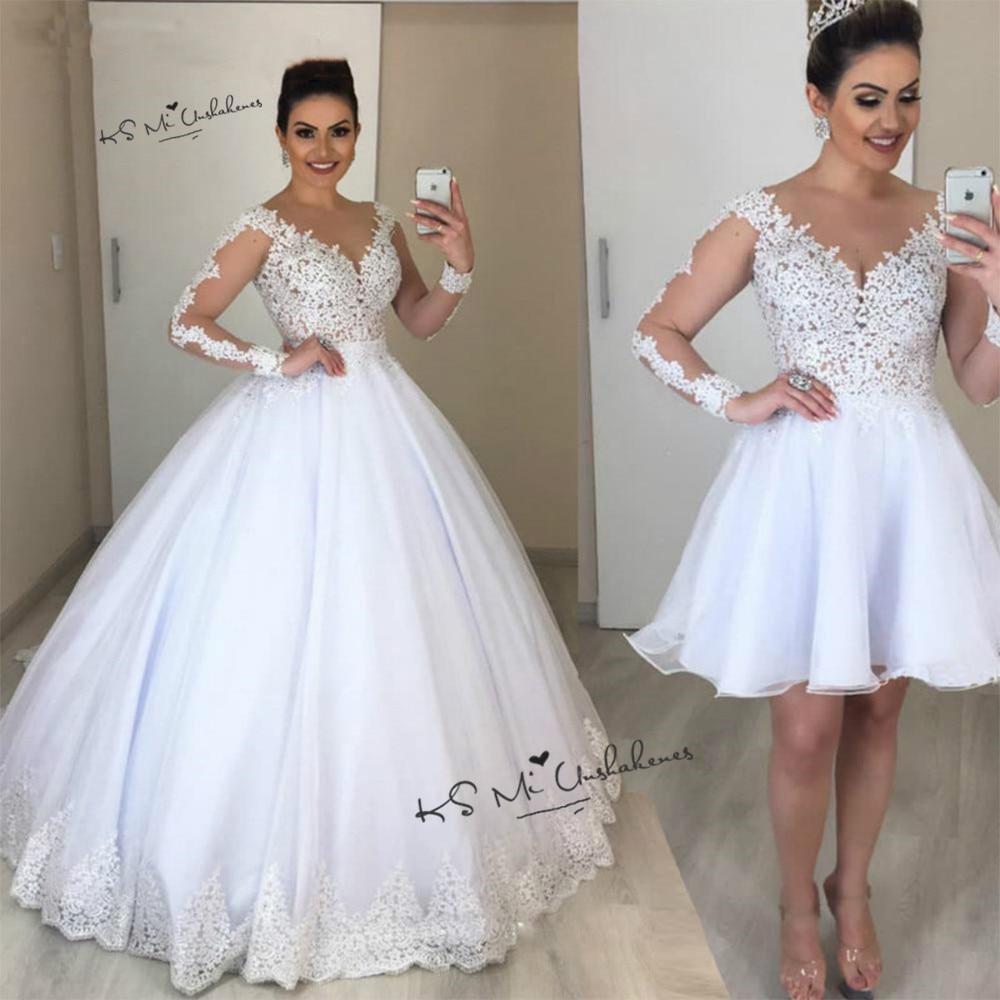 Manches longues 2 pièces robes de mariée dentelle détachable jupe courte robes de mariée Vintage robe de mariée robe de bal Vestido de Casamento