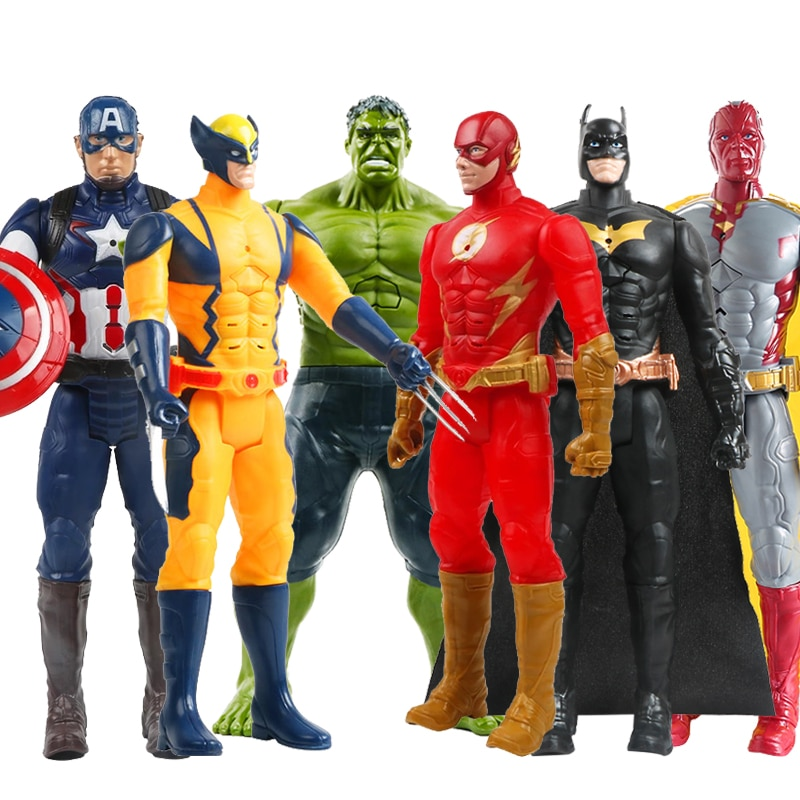 12''/30cm Marvel Avengers Hulk Captain America Spiderman Wolverine Venom Iron Man Thor Groot Action Figures Toy For Kid Gifts