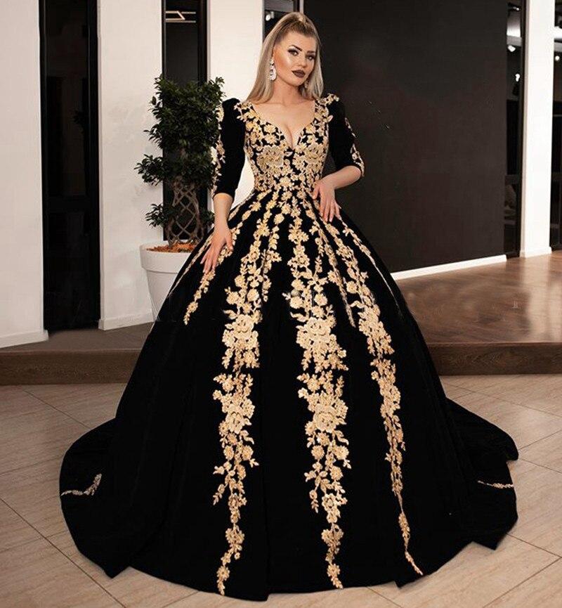 Женское длинное вечернее платье черное бархатное бальное 2020 с V образным вырезом