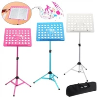 flanger folding music stand abs sheet aluminum alloy tripod stand holder height adjustable with carrying soft cotton bag