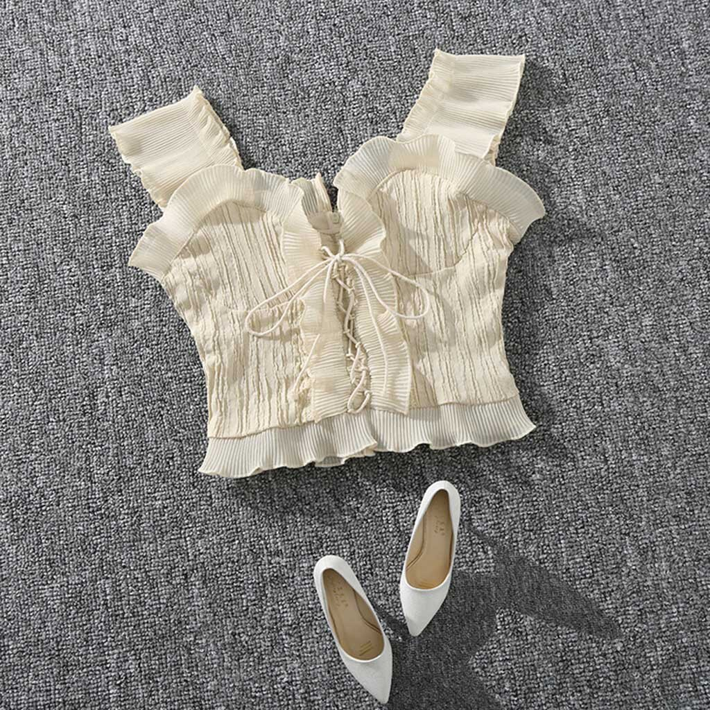 Women Summer Milkmaid Crop Tops Tanks Summer ruffled Ruched Bow Slim Camis 2020 Ladies Wide Strap Skinny Femme Camisole #C