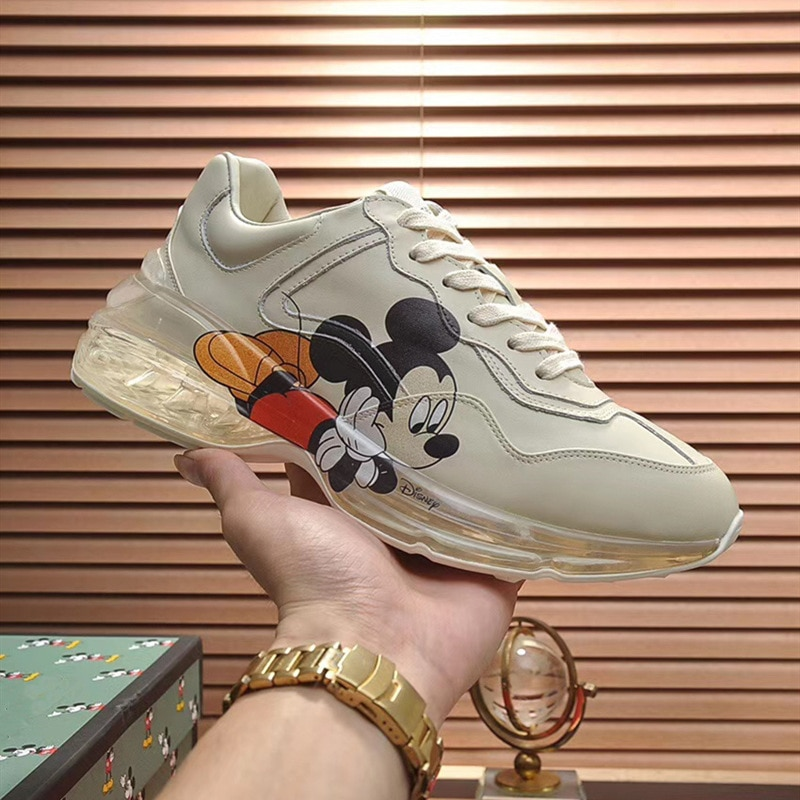 Disney 2021 New Cartoon Cute Mickey Print Old Shoes Men and Women The Same Leather Cushion Couple Casual Sneakers enlarge
