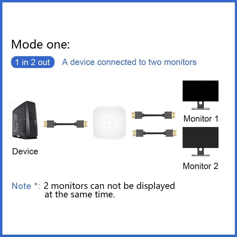 Двунаправленный KVM переключатель 2 вход 1 выход и 1 вход 2 выход HDMI-совместимый коммутатор нет внешний питание Поддержка 4K% 4030 Гц One-Click Switch