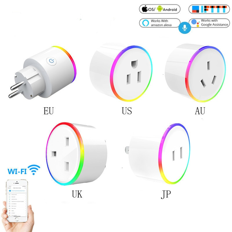 UE EE. UU. Reino Unido AU Wifi Smart Home enchufe Tuya APP voz Control remoto RGB inalámbrico toma de corriente soporte Alexa Google Home