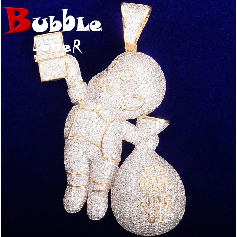 لا سلسلة الصبي اليد تحمل الدولار حقيبة قلادة الرجال الهيب هوب روك حلية قلادة مجوهرات الشارع