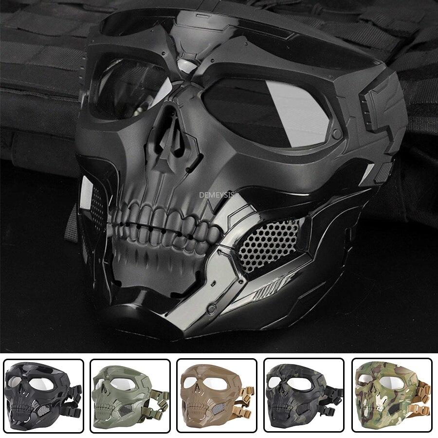 Tactical Skull Masks Shooting Hunting Paintball Masks Motorcycle Men Full Face Airsoft Cycling Hiking Comfortable Military Mask