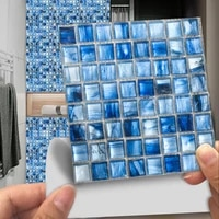 Autocollant Mural en mosaique de marbre bleu plat 10 10 15 20 30cm  papier peint de cuisine et de salle de bains  affiche dart Mural 2D