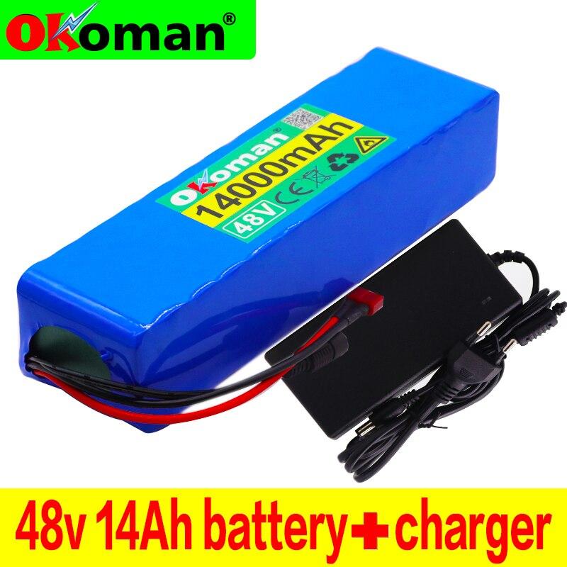 Batería de iones de litio 48V 14Ah 1000 vatios 13S3P para Scooter de bicicleta eléctrica MH1 54,6 v con descarga de 25 a BMS + cargador
