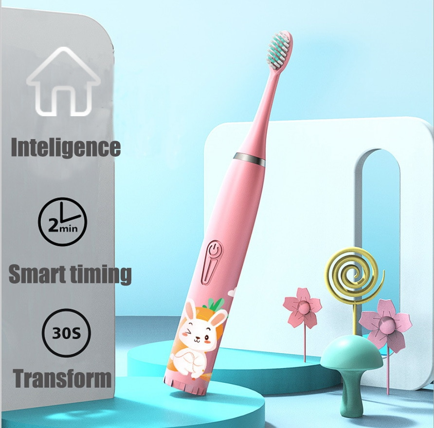 Children Electric Toothbrush Cartoon Pattern Sonic Cleaning IPX7 Waterproof Replacement Brush Heads USB Charger Smart Timer GH28 enlarge