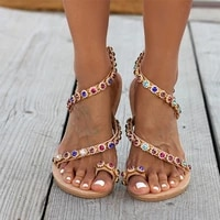 2020 casual women sandals summer beach flat with shoes slip on bling crystal flip flop femmes sandales flower puls size 35 43