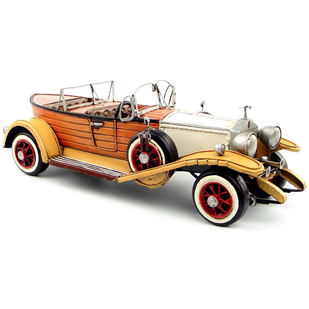 Modelo de coche británico clásico antiguo, Artesanía de metal forjado retro para decoración de hogar/pub/cafetería o regalo de cumpleaños