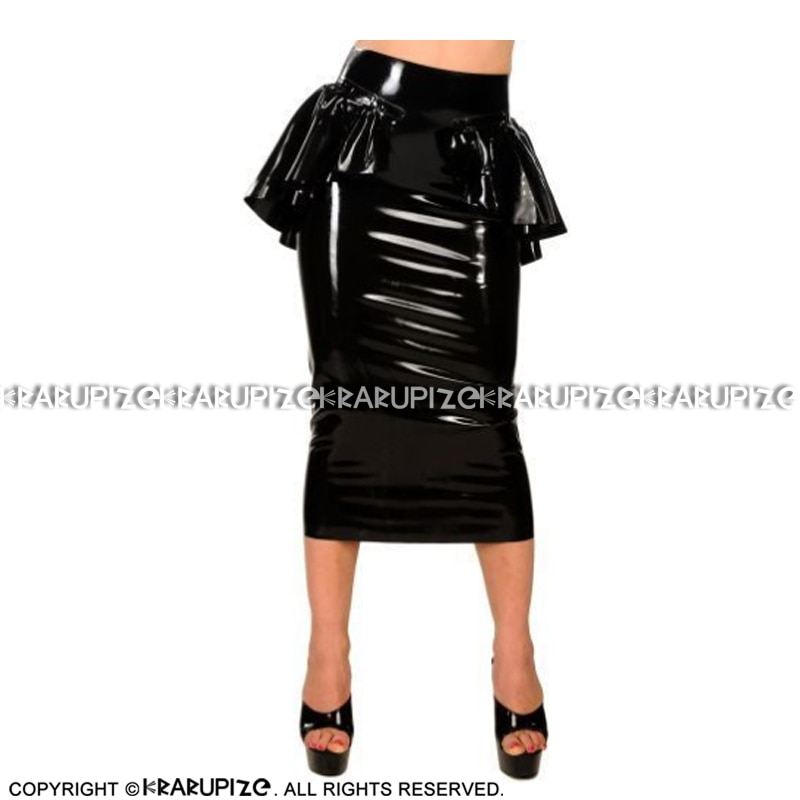 Black Sexy Long Latex Skirts With Frills At Top Zipper Back  Rubber Bottoms DQ-0049