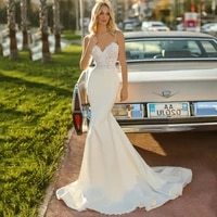 sexy mermaid weddding dresses 2021 spaghetti straps sweetheart sleeveless backless lace appliques court train bridal gowns