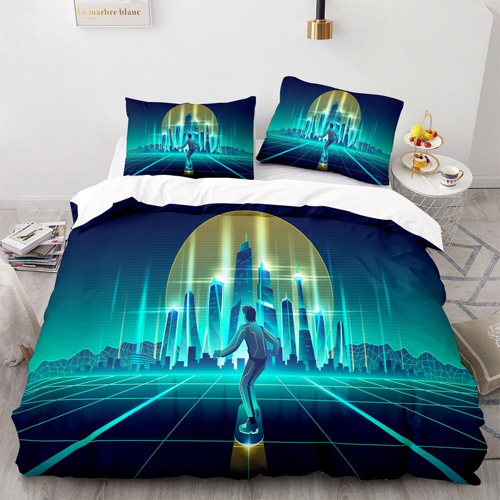 رجل التزلج في مدينة المستقبل نمط طقم سرير ، 245 × 210 مجموعة غطاء لحاف مع المخدة ، 220 × 260 غطاء لحاف