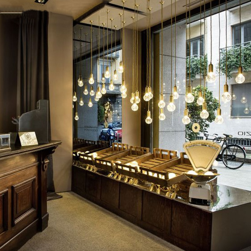 europe led iron led glass ball e27 pendant light nordic lamp hanging lights kitchen chandeliers hang dining rooom livingroom