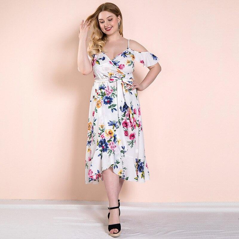 Summer Dress Woman Big Size Cottagecore Cold Shoulder Multicolor Floral Print Belted Slip Boho Ruffles Prairie Chic