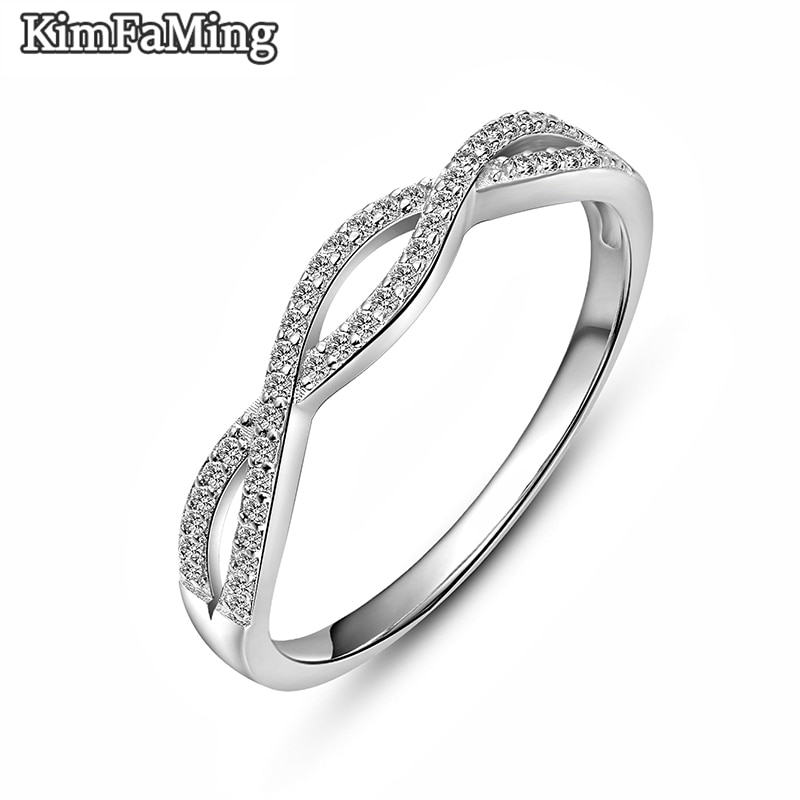 Trendy Lady Twisted Curved Silver Rings  Brilliant Cut White Zircon Pave Set Geometric Silver Jewelry Casual Party R116