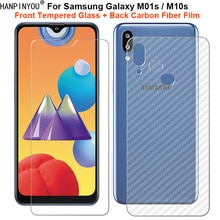 For Samsung Galaxy M01s / M10s 1 Set = Soft Back Carbon Fiber Film + Ultra Thin Clear Tempered Glass