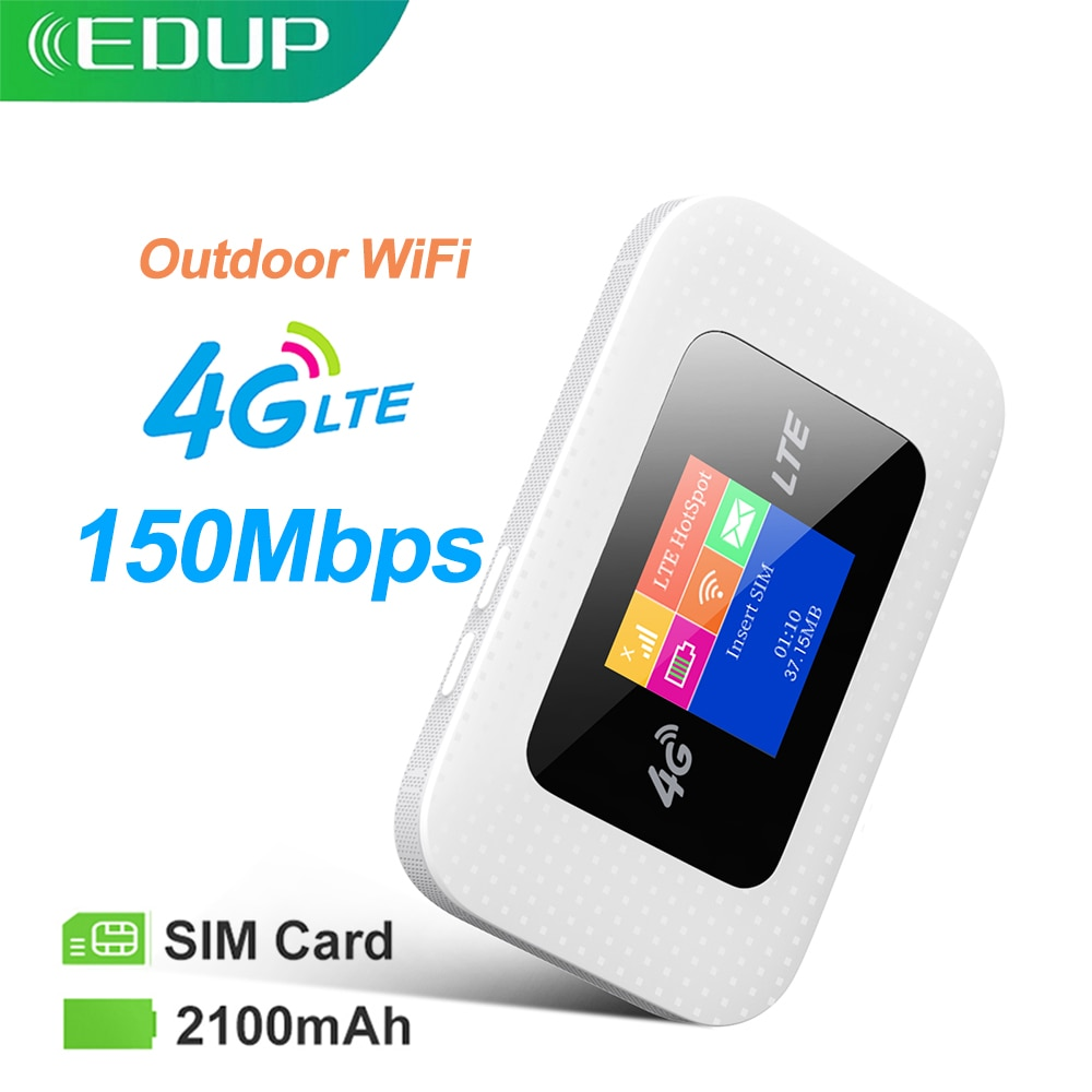 EDUP 4G موزع إنترنت واي فاي جهاز توجيه صغير 3G 4G Lte لاسلكي محمول جيب واي فاي موبايل هوت سبوت سيارة واي فاي جهاز توجيه ببطاقة Sim فتحة