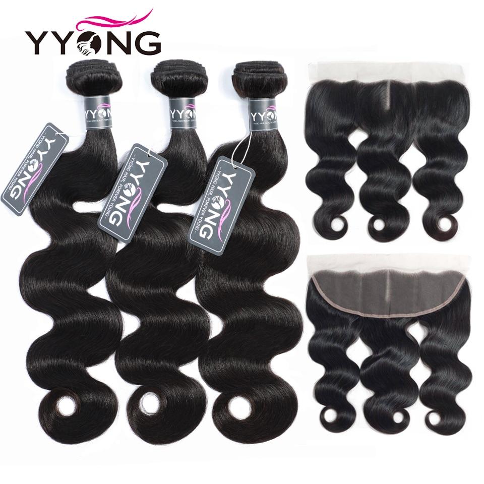 Yyong الشعر 3 حزم البرازيلي الجسم موجة مع أمامي ريمي الشعر البشري حزم مع 13X4 الأذن إلى الأذن الدانتيل أمامي