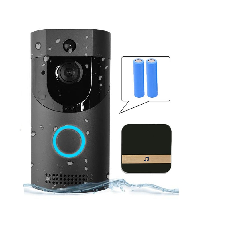 Timbre de puerta B30 Wifi Ip65, timbre de puerta de vídeo inteligente a prueba de agua 720P, intercomunicador inalámbrico Fir, alarma Ir, cámara Ip de visión nocturna (enchufe de la UE)