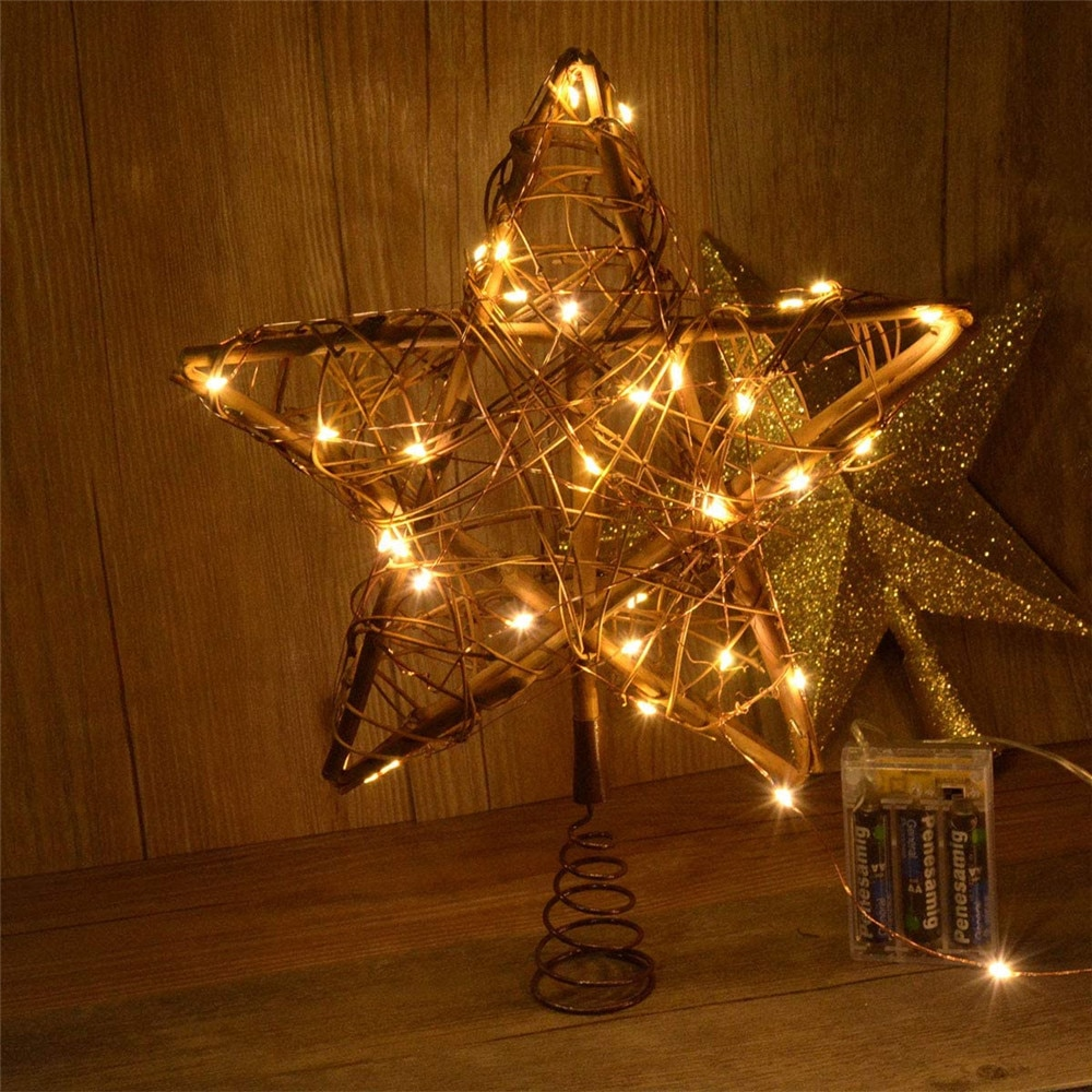 Christmas Star Tree Topper Lights Light Up Xmas Ornaments With 5M 50 LEDs Copper String for Table